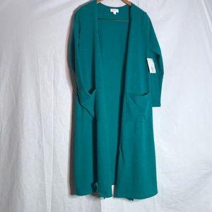 NWT LulaRoe Solid blue green cardigan medium
